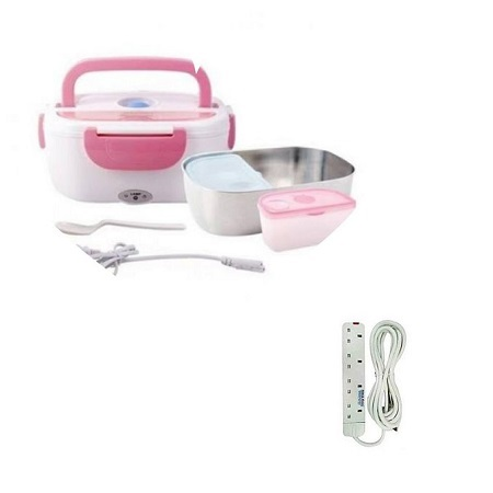 Electric Heated Lunch Box Food Warmer, partioned with free 4way extension cable