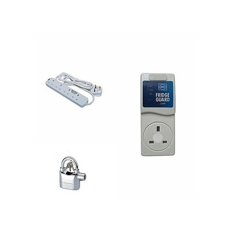 MK Fridge Guard Free Alarm Padlock And 4way power cable- White.