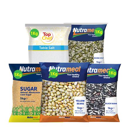 Food Pack- Yellow Beans 1 Kg, White Sugar 5kg, Black Njahi 1Kg, Top Chef Salt 1 Kg,  Moongsplit 1Kg,