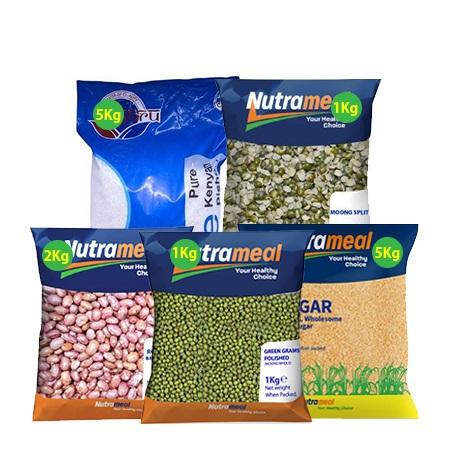 Food Pack- White Sugar 5 Kg, Pishori Pure 5 Kg, Moongsplit 1 Kg,  Green Grams 1 Kg, Roscoco Brown Beans 1Kg