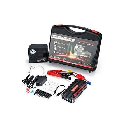 Car Jumpstarter Kit With Air Compressor - Black And Red