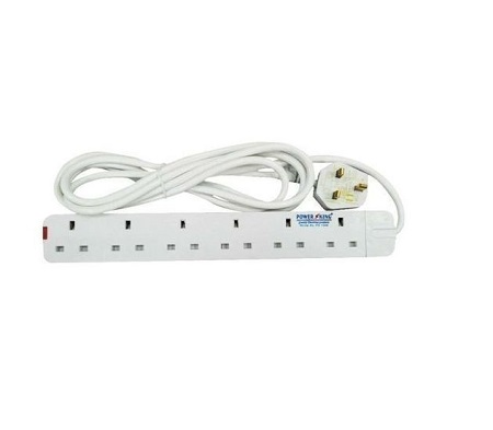 Rk Trust Extension cable Power king 6 way- White