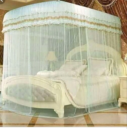2 Stands Mosquito Net With Sliding Rails- Cream