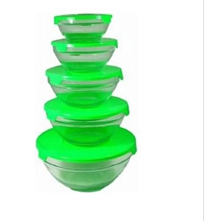 Set of 5 Food/Cereals Glass Fridge Bowls
