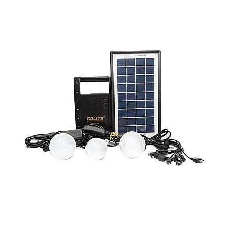 Solar Lighting System With FM Radio - Black