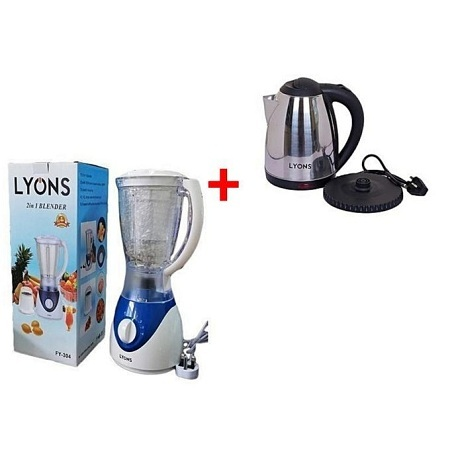 Lyons Stainless Steel Electric Kettle With Free Blender