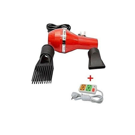 Modern Blow Dryer with FREE 4-way Socket Extension Cable Red