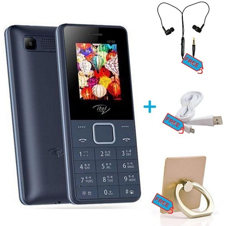 Itel Dual - 1.77 Inch - Camera - Torch - FM + Free Earphones, Cable, Ring Holder