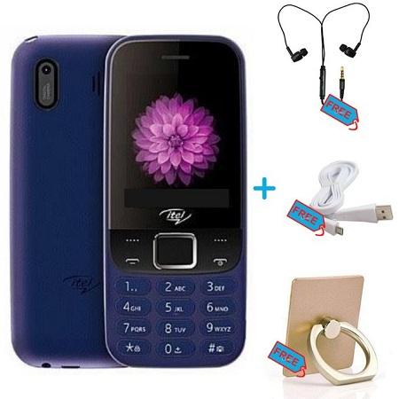 Itel Triple SIM CARD - 2.40 Inch - Opera Mini - FM + Free Earphones, Cable, Ring Holder