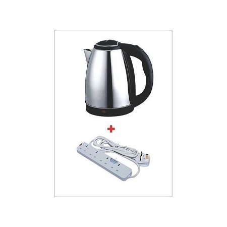Scarlett Cordless Electric Kettle - 2L- Silver + 4 Free Way Extension.