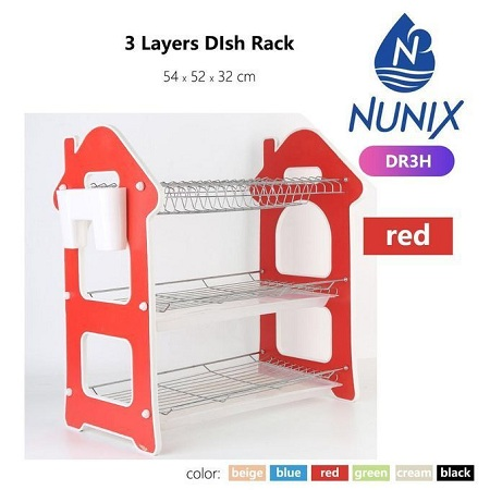 Nunix Three Tier Dish Rack - Red