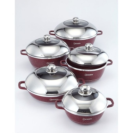 Dessini Granite Coated 10 Pcs Non-Stick Cooking Pots
