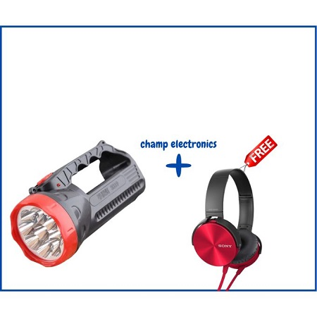 Portable LED Charging Flashlight Torch + Free Headphones