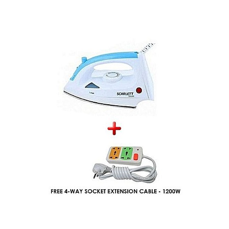 Scarlett Steam Iron Box + FREE 4-way Socket Extension - White & Blue
