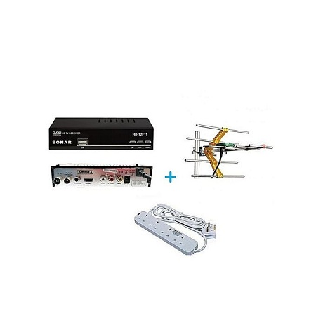 Sonar FREE to Air TV Digital Decoder + a FREE Digital Receiver Antenna/Aerial and a FREE Heavy Duty 4-Way Socket Extension Cable