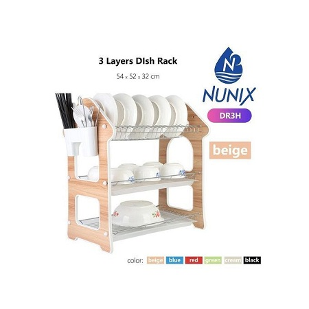 Nunix Three Tier Dish Rack - Biege