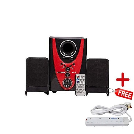 Vitron Channel Multimedia sub woofer Speaker System-2.1 PMPO, Ac/Dc - Black & Red + FREE Extension Cable