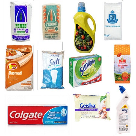Jamboshop Food Pack- Maize Flour, Cooking Oil, Rice, Sugar, Salt, Baking Powder, Tea Tangawizi, Bar Soap, Toilet Cleaner, Bathing Soap, Colgate