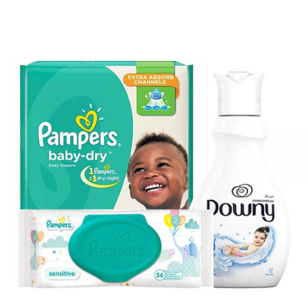 Jamboshop Baby Care Pack- Pampers Baby Dry High Count, Papers Wipe Sensitive, Downy Fabric Care Gentle