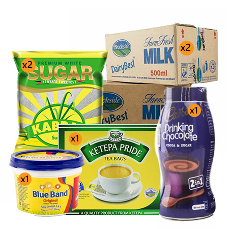 Jamboshop Breakfast Pack- Ketepa Tea Bag, Kabras Sugar, Brookeside Long life Milk, Blue-band, Cadbury Drinking Chocolate
