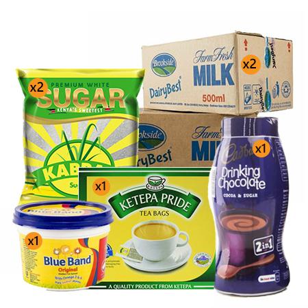 Jamboshop Breakfast Pack- Ketepa Tea Bag, Kabras Sugar, Brookeside Long life Milk, Blue-band, Cadbury Drinking Chocolate