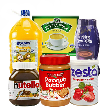 Jamboshop Breakfast Pack- Highlands Juice, Nutella, Zesta Jam, Peanut Butter,  Drinking Chocolate, Ketepa Tea Bags