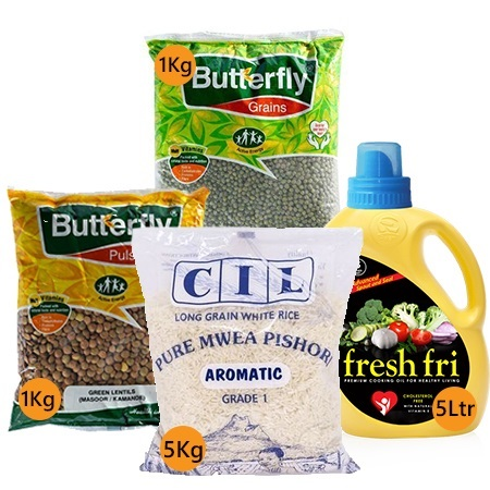 Jamboshop Food Pack- Rice, Cooking Oil, Green Grams, Chick Peas