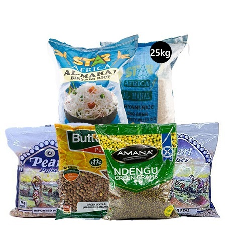 Jamboshop Food Pack- Pearl Popcorn, Pearl Pigeon Peas, Butterfly Chick Peas, Butterfly Green Grams, Five Star Pakistani Rice