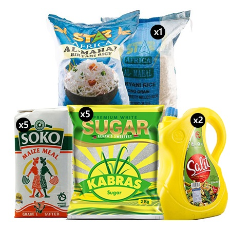 Jamboshop Food Pack- Salit Cooking OIL, Kabras White Sugar, Soko Maize Flour, Five Star Pakistani Rice