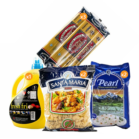 Jamboshop Food Pack- Pearl Pishori Rice, Santa Maria Macaroni, Santa Lucia Spaghetti, Fresh Fri Cooking Oil