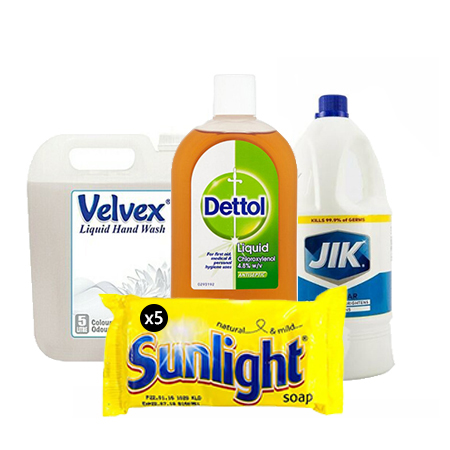 Jamboshop Household Cleaner Pack- Velvex Non-pearlised Hand Wash, Dettol Antiseptic Liquid, Jik White Regular, Sunlight Tablet