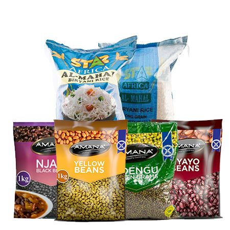 Jamboshop  Food Pack- Five Star Pakistani Rice 25 Kgs, Yellow Beans, Black Beans (Njahi), Green Grams, Red Beans (Nyayo)