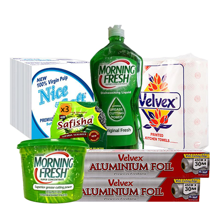Jamboshop Kitchen Essentials- Dish Washing Liquid, Dish Washing Paste, Simba Scrubber, Velvex Kitchen Towels, Velvex Serviettes, Aluminium Foil