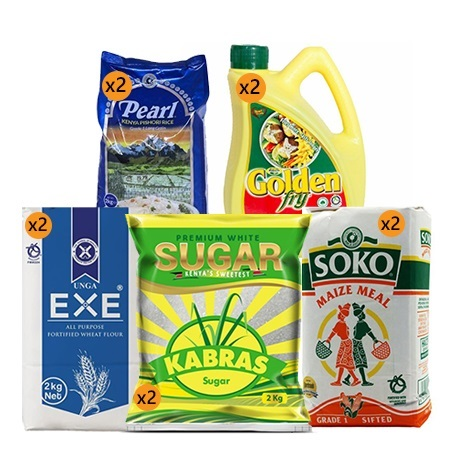Jamboshop Food Pack- Maize Flour, Baking Flour, Sugar, Cooking Oil, Rice