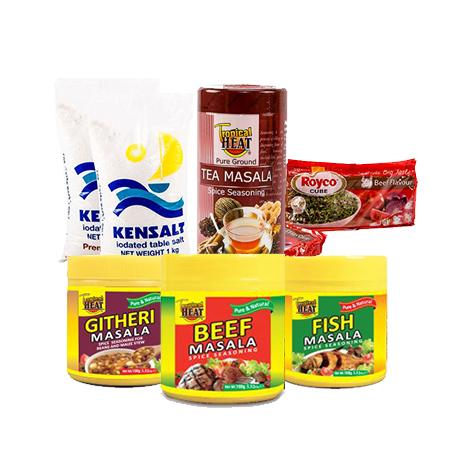 Jamboshop Cooking Ingredients pack- Tropical Heat (Tea Masala+ Beef Masala+ Githeri Masala+ Fish Masala), Kitchen Salt, Royco Beef Cubes