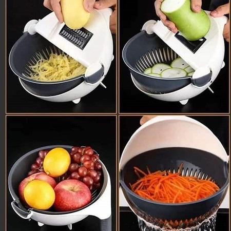 Kitchen Wet Basket 9-in-1 Multifunctional Vegetable Cutter