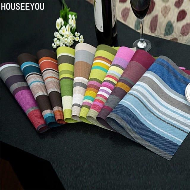 PVC Table Mats - Stripes - 6 Pcs-Multicolor