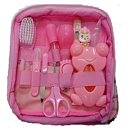 Baby Care Classy Baby Grooming Nursery Healthy Kit with a clear pouch - Pink