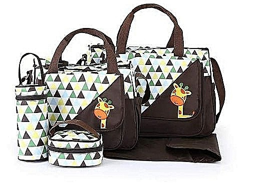 Elegant new design 5 in 1 Baby Diaper Bag Changing Pad Travel Mummy Bag