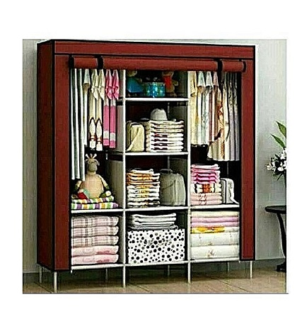 3 Column Portable Wardrobe- Brown
