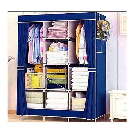 3 Column Portable Wardrobe- NavyBlue