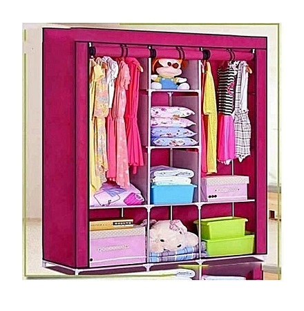 3 Column Portable Wardrobe- Pink