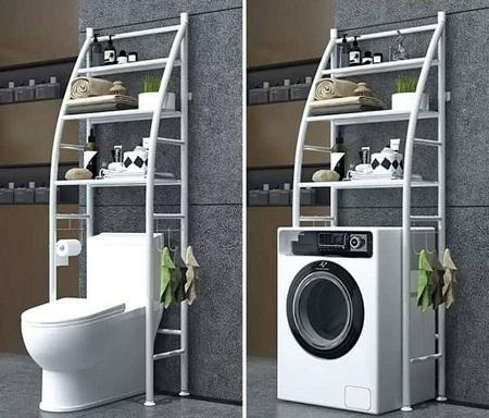 3 Tier Over Toilet/ Bathroom Metallic Storage Organizer Rack -White