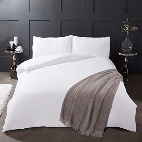 Plain White Quilt Duvet Set