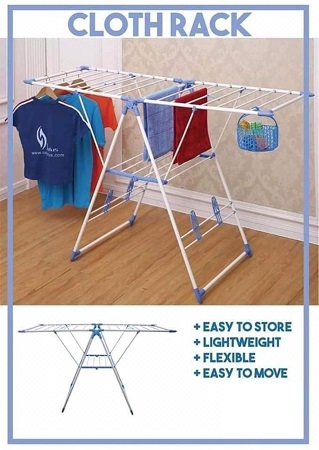 Foldable Floor Standing Laundry Clothes Drying Rack - White & Blue