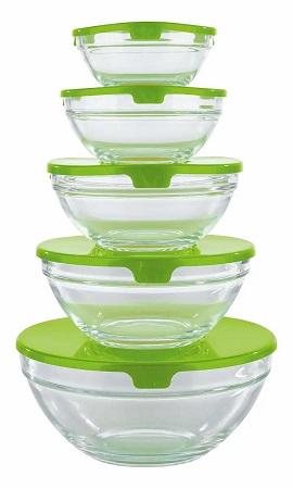 Glass Bowl set for Fridge Storage- 5 pcs