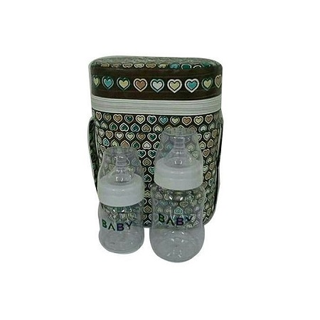 Bottle warmer for Baby - with 2 clear feeding bottles.