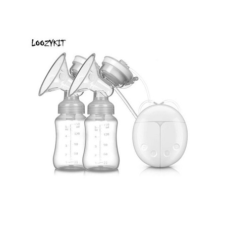 Double Electric Breast Pump Powerful Nipple Suction USB Electric Breast Pump With Baby Milk Bottle Cold Heat Pad Nipple(Pink) Fig