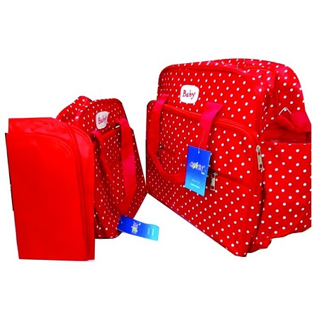 Red With White Polka Dots 3 In 1 Diaper Bag