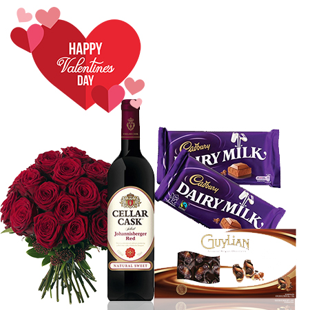 Valentines Gift Package- Cellar Cask Wine, Cadbury Chocolate Bar, Guylian Chocolate, Fresh Flowers Bouquet